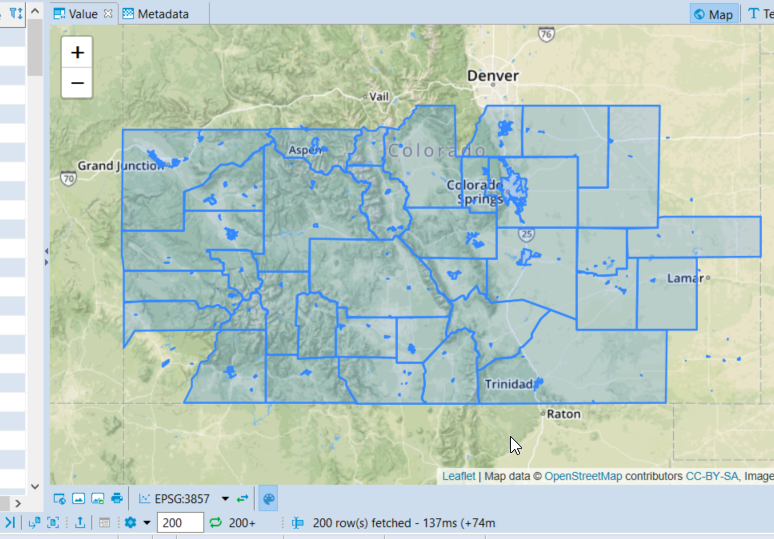 Screenshot showing polygons over the state of Colorado map with only a portion of the polygons loaded, covering the majority of the Southern portion of the state.