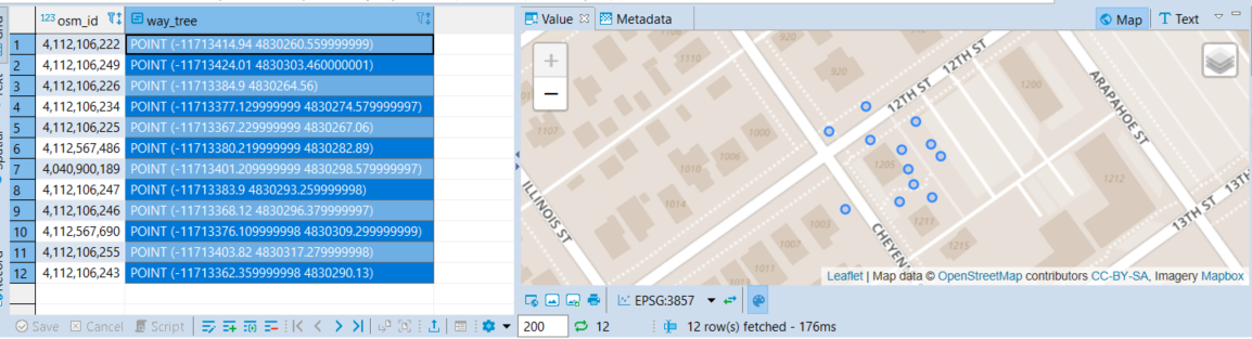 Screenshot showing grid results from the above query on the left and visual results of the spatial data over OpenStreetMap base data from MapBox.