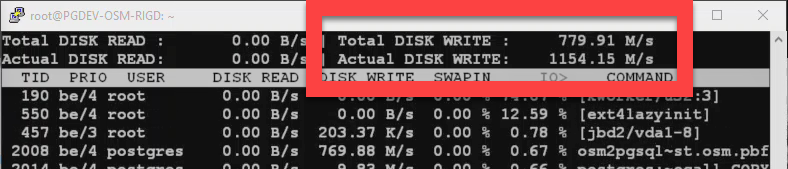 Screenshot of iotop output during osm2pgsql processing.  iotop shows actual disk write speed of 419 M/s