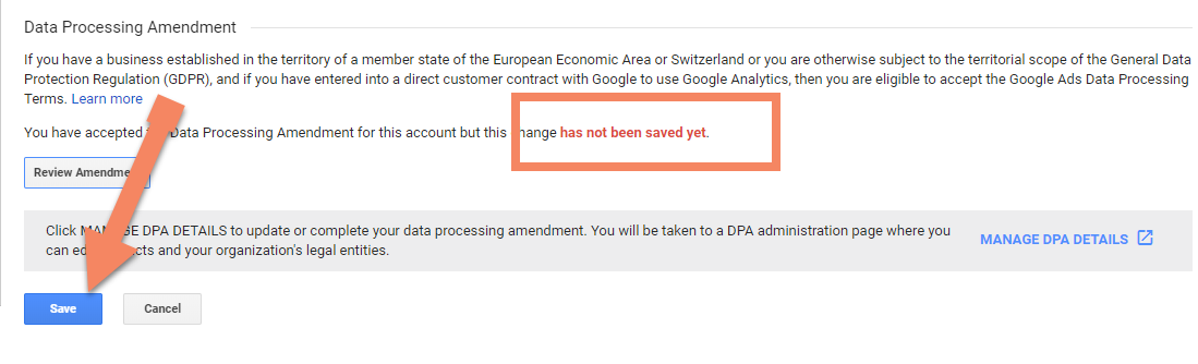 Screenshot showing Google Analytics admin dashboard with an arrow pointing to the save button