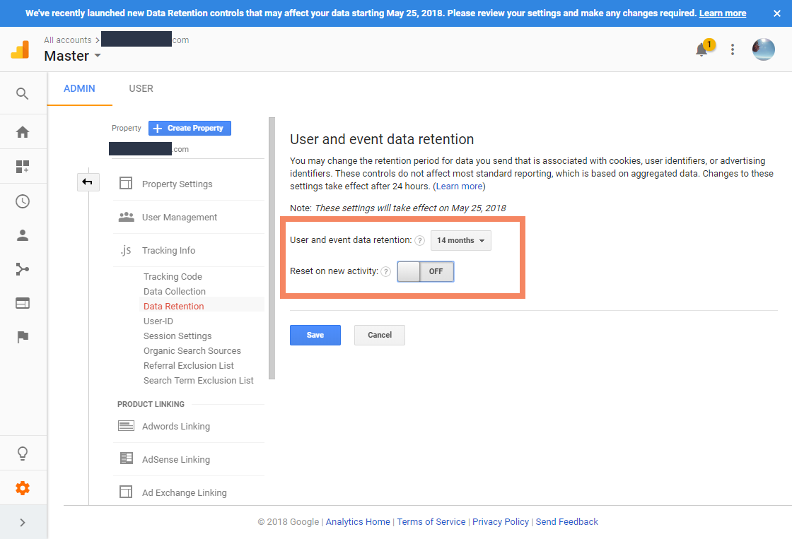 Screenshot showing Google Analytics data retention settings for a GA property