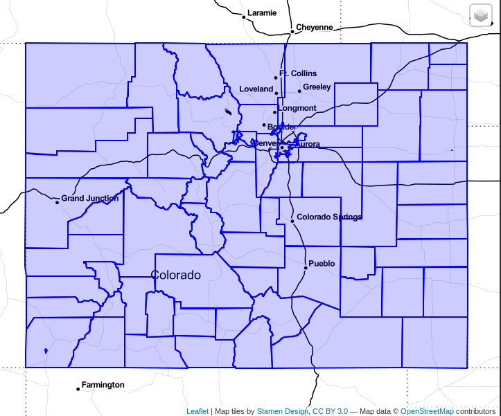 Screenshot from DBeaver showing the Colorado county polygons in blue over the Stamen Mono basemap.