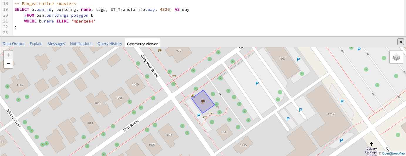 Screenshot showing the Pangea Coffee Roaster's building in Map View overlay-ed with the OpenStreetMap layer.