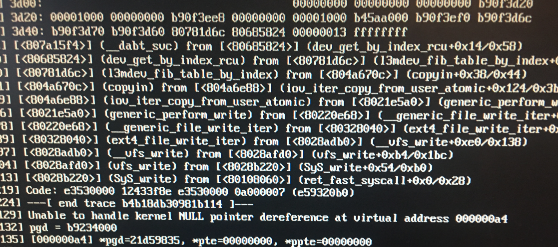 Image of error messages from Raspberry Pi after running osm2pgsql with too many resources.  Unable to handle kernel NULL pointer dereference at virtual address