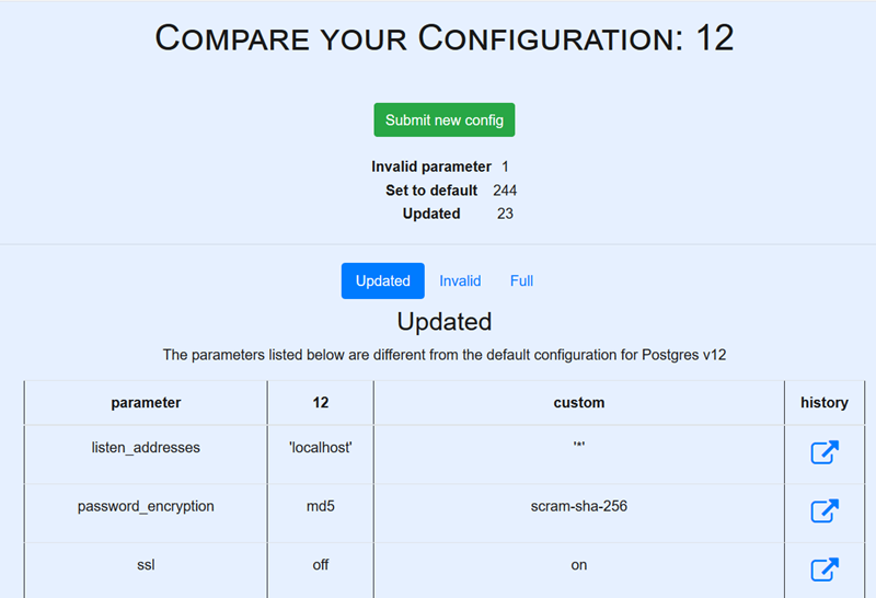 Screenshot showing summary of configuration differences between above example and the defaults for Postgres 12)